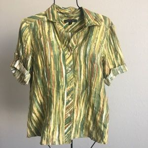 Lafayette 148 striped Linen button down